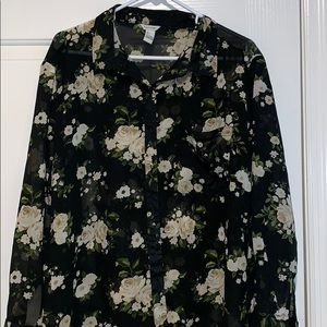 Sheer black floral button up blouse